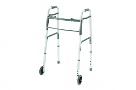 ProBasics® Deluxe Two-Button Folding Walker - Wheels Installed