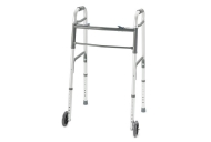 Invacare Youth ProBasics Deluxe Two-Button Folding Walker with Wheels Installed